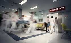 Blurry movement of nurses and doctors working in the hospital / soft focus and long speed shutter technique.New corona virus (novel Coronavirus 2019 disease,COVID-19,nCoV).