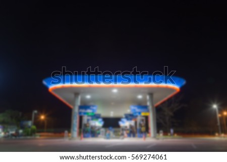 Blurry night photo of petrol station in Thailand