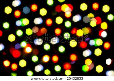 Blurry pattern of colorful decoration lights. Holiday background