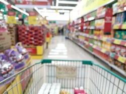 blurry pushcart in supermarket for background