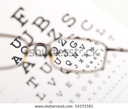 Blurry text clearing up through eyeglass - medical optics concept