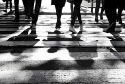 Blurry zebra crossing with silhouettes and shadows of people walking in the cold and sunny early morning autumn day in black and white