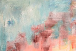 Blush and blue colors painted canvas abstract background or texture
