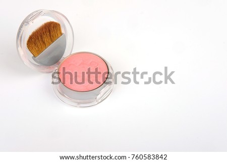 Blush brush and foundation, makeup cosmetics ,isolated on white background #760583842