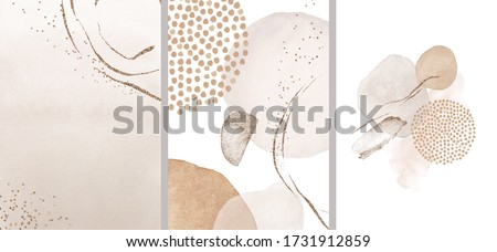Blush, pink, ivory, beige watercolor Illustration and gold elements, on white background. Abstract modern print set. Logo. Wall art. Posters.