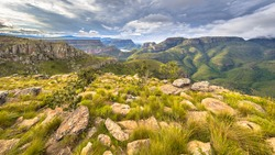 Blyde river Canyon panorama from Lowveld viewpoint over panoramic scenery in Mpumalanga South Africa