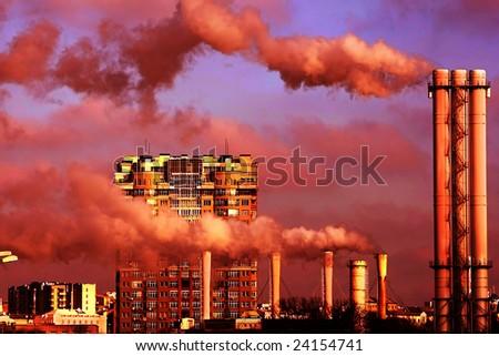 blye sky and exhaust smoke - stock photo