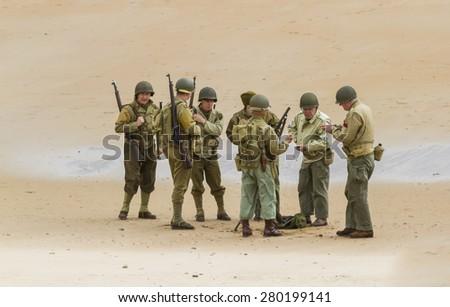 BLYTH, NORTHUMBERLAND, ENGLAND. MAY 17, 2015. World War 2, beach assault, reenactment at Blyth Battery. May 17, 2015, Blyth Northumberland. England. UK. - Shutterstock ID 280199141