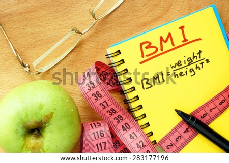 BMI body mass index formula rate formula in a notepad.