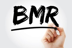 BMR - Basal Metabolic Rate acronym with marker, concept background