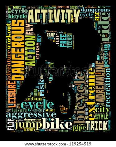 BMX info-colorful text graphic and arrangement concept on black background (word cloud)