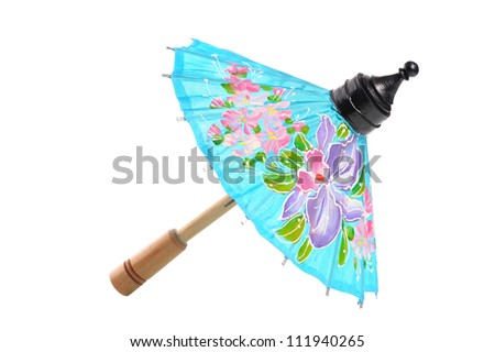 Bo Sang Umbrella isolate on white background, the handmade umbrella in northern Thailand.