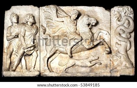 Boar hunt scene, Ancient Roman sculpture,