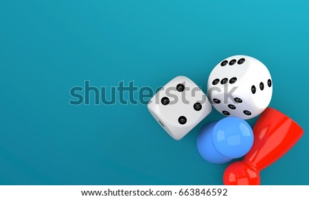 Board game concept isolated on blue background. 3d illustration