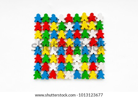 Shutterstock Board game concept - many people figure, different color, white background