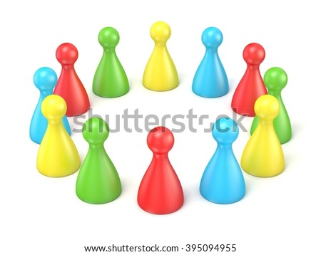 Board game pieces. Scene made of toy pawns. 3D render illustration isolated on white background