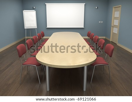 Board room with empty screen and flipchart. 3D render.