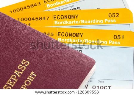 Boarding pass and passport (manual focus)