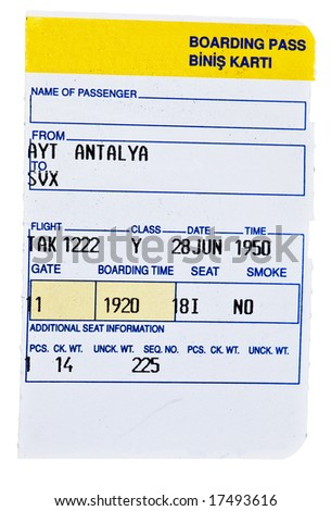 Boarding pass - ticket stub
