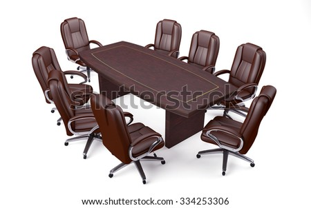 Boardroom Office Conference Table and Chairs isolated on white #334253306