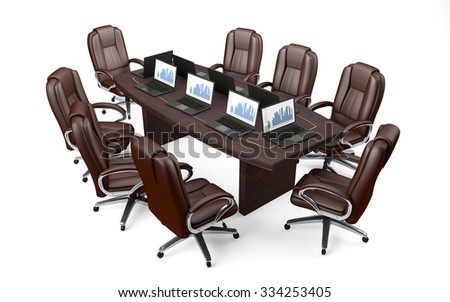 Boardroom Office Conference Table and Chairs isolated on white #334253405