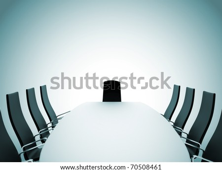 Boardroom table and chairs on white background