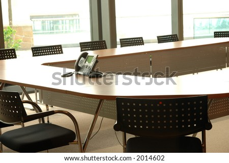 Boardroom with video conference phone