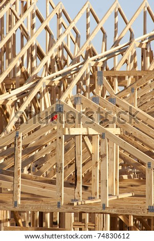 boards and truss of building