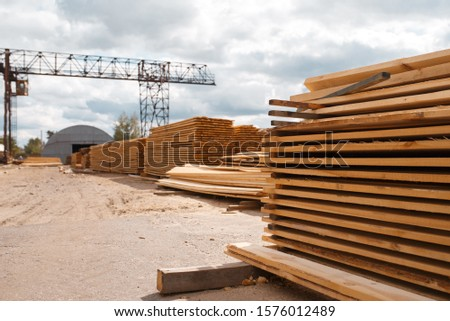 Boards on timber mill warehouse outdoor, nobody
