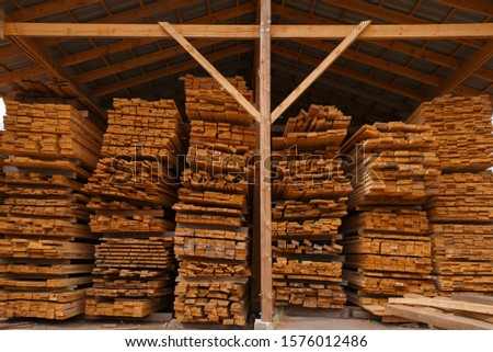 Boards on timber warehouse, nobody, lumber