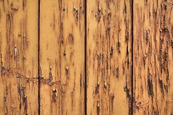 Boards with flaking paint on a dilapidated wooden fence