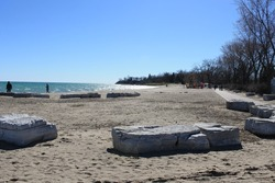 Boardwalk and beach at Lakeview Park, Oshawa, Ontario, Canada