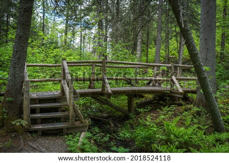 Boardwalk and hikin trail of the Canyon des Portes de l'Enfer nature park (Hell's gate Canyon), located near Rimouski in Bas Saint Laurent, Quebec (Canada) Photo stock ©