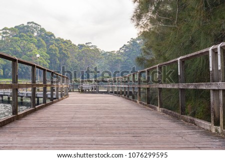 Boardwalk at Narooma, NSW Australia on hazy autumn day