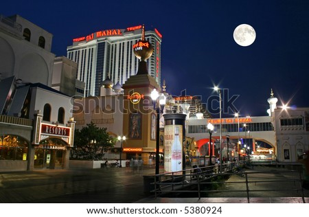 Boardwalk at night in Atlantic City New Jersey