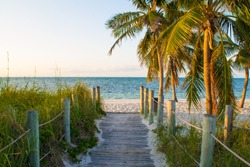 Boardwalk at Smathers Beach in Key West, Florida