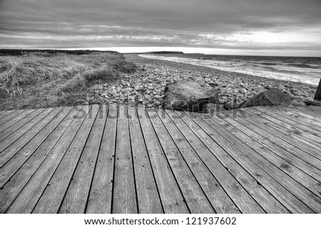 Boardwalk in black and white