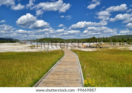boardwalk in Black Sand Basin, Yellowstone National Park.