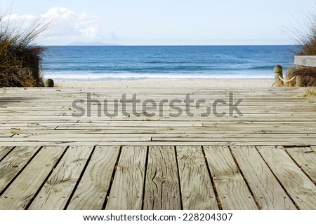 Boardwalk leading to beach scenery