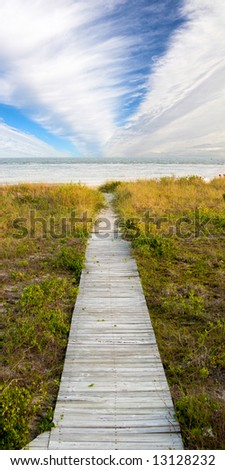 boardwalk leading to beach with dramatic sky, vertical panorama