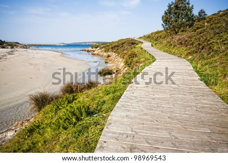Boardwalk on the beach in Muxia, La Coruna, Spain