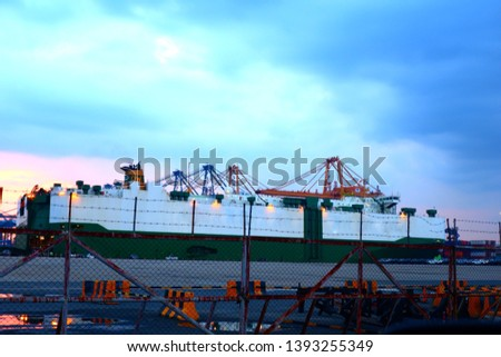 Boat and ferry port in the evening in the evening #1393255349