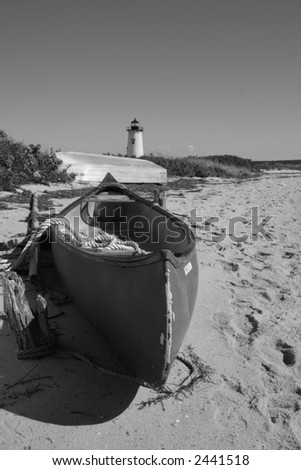 Boat and lighthouse- Martha's Vineyard