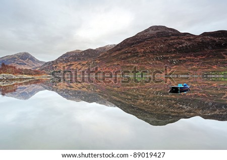 Boat and mountain reflection on Loch Leven