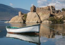 Boat and Ruins on Lake Bafa, Turkey