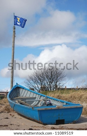Boat and Scotland flag