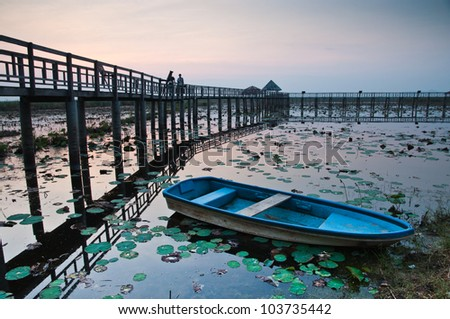 Boat and Wooden bridge in the sunset