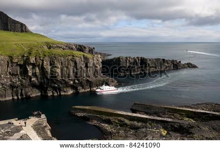 Boat arrival on Mykines, Faroe Islands