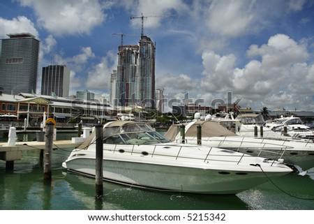 Boat at Bayside Marina, Miami FL.
