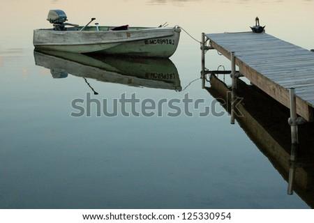 Boat At Dock, Still Water
